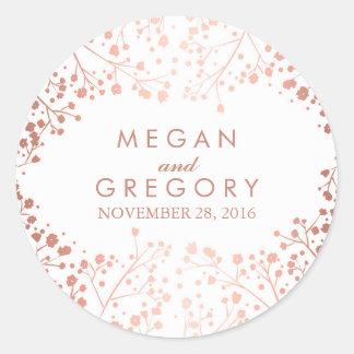 White and Rose Gold Baby's Breath Wedding Round Sticker