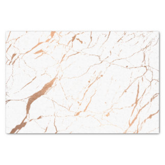 White and Rose Gold Marble Designer Tissue Paper
