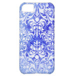 White and Royal Blue Grunge Vintage Damask Cover For iPhone 5C
