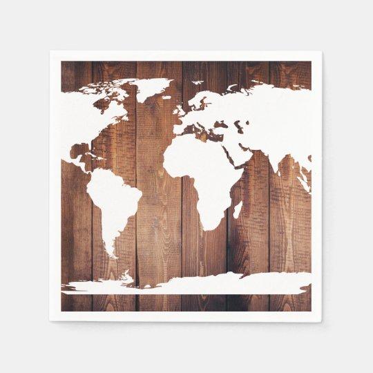 White and Rustic Dark Wood World Map Napkin | Zazzle.co.uk