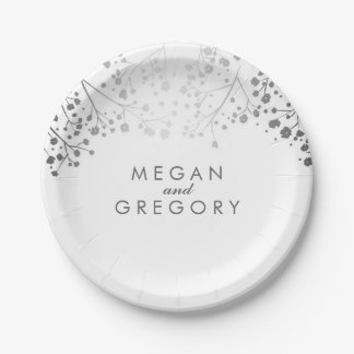 White and Silver Baby's Breath Wedding 7 Inch Paper Plate