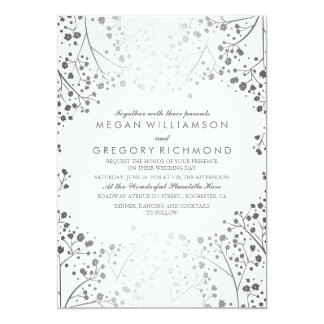White and Silver Baby's Breath Wedding Card