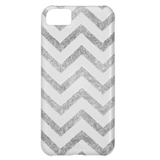 White and silver faux glitter chevron pattern. iPhone 5C case