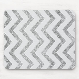 White and silver faux glitter chevron pattern. mouse mat