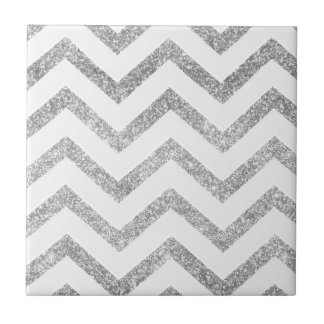 White and silver faux glitter chevron pattern. small square tile