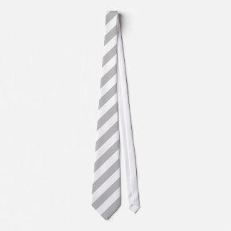 White and Silver Gray Diagonal Stripes Tie