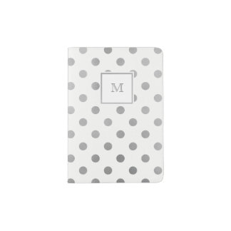 White and Silver Polka Dot Passport Holder