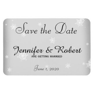 White and Silver Snowflake Wedding Save the Date Magnet