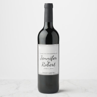 White and Silver Snowflake Wedding Wine Label