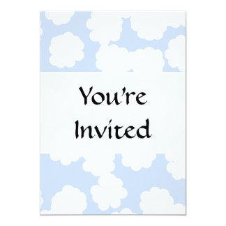 White and Sky Blue Clouds Pattern. 13 Cm X 18 Cm Invitation Card