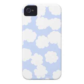 White and Sky Blue Clouds Pattern. iPhone 4 Case