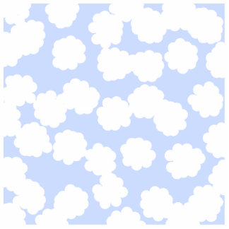 White and Sky Blue Clouds Pattern Cut Out