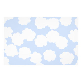 White and Sky Blue Clouds Pattern. Stationery