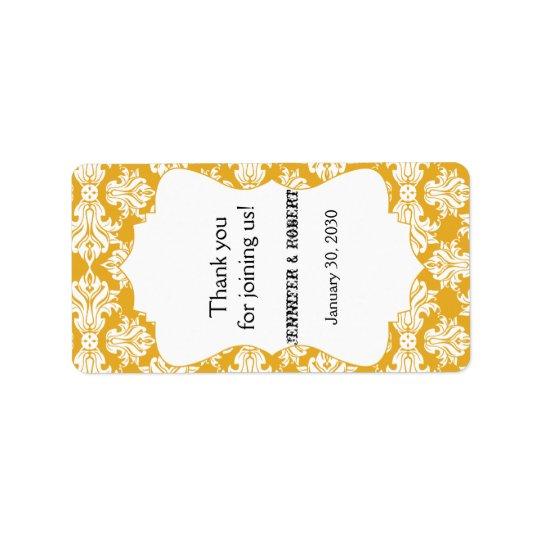 White and Sunflower Damask Wedding Lip Balm Label Address Label