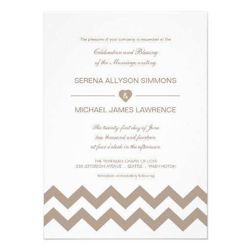 White and Taupe Chevron Wedding Invitations