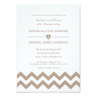 White and Taupe Chevron Wedding Invitations