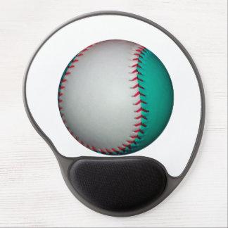 White and Teal Baseball / Softball Gel Mouse Mats