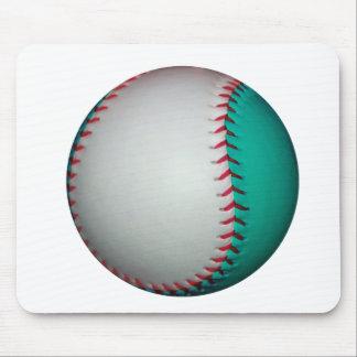 White and Teal Baseball / Softball Mousepads
