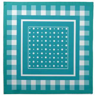 White and Teal Gingham and Polka Dots Napkin