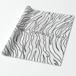White And White Tiger Stripes Animal Print Wrapping Paper