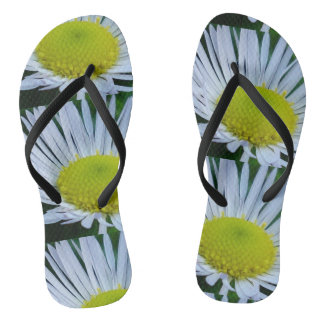White and yellow flowers flip flops