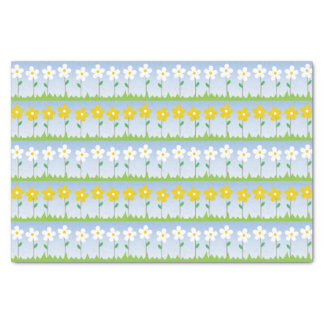 White and Yellow Flowers Tissue Paper