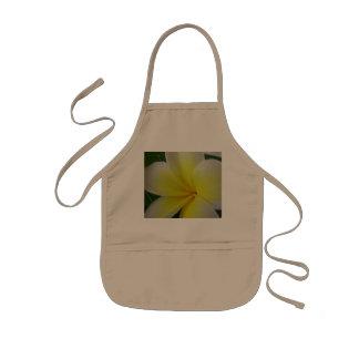White And Yellow Frangipani Flower Kids Apron