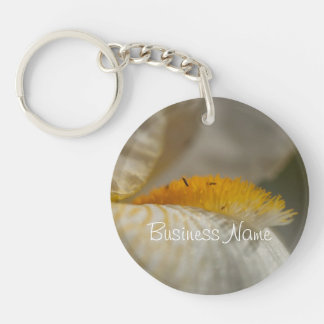 White and Yellow Iris; Promotional Single-Sided Round Acrylic Key Ring