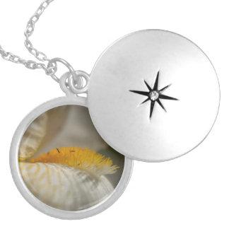 White and Yellow Iris Round Locket Necklace