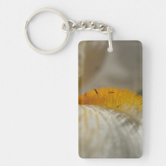White and Yellow Iris Single-Sided Rectangular Acrylic Key Ring