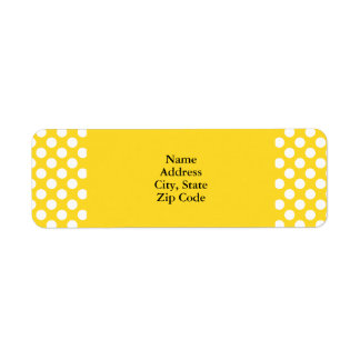White and Yellow Polka Dot Return Address Label