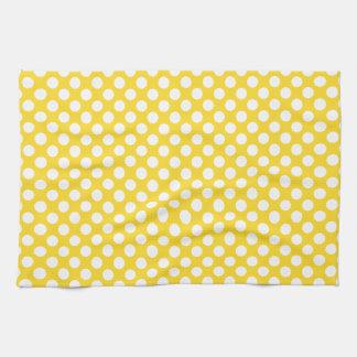 White and Yellow Polka Dot Tea Towel