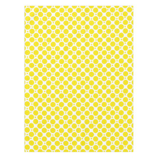 White and Yellow Polka Dots Pattern Tablecloth