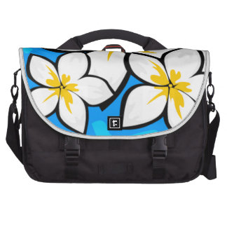 White and yellow tropical flowers computer bag