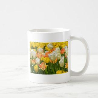 White and yellow tulips basic white mug