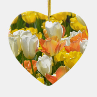 White and yellow tulips ceramic heart decoration