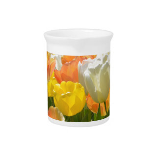 White and yellow tulips drink pitchers