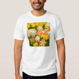 White and yellow tulips shirt