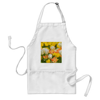 White and yellow tulips standard apron
