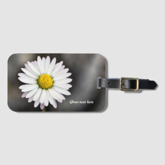 White and Yellow Wild Daisy Luggage Tag