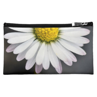 White and yellow wild daisy makeup bags