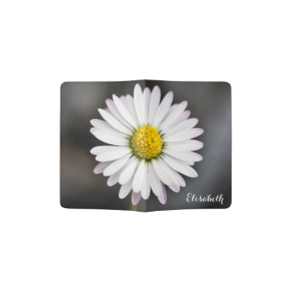 White and Yellow Wild Daisy Passport Holder