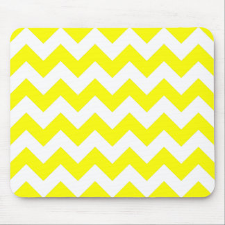 White and Yellow Zigzag Pattern Mouse Pad