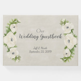 White Anemone Floral Wedding Guest Book