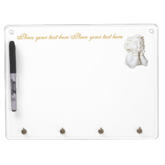 White Angel Dry Erase Board With Key Ring Holder