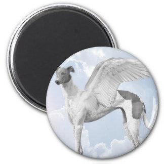 White Angel Greyhound 6 Cm Round Magnet