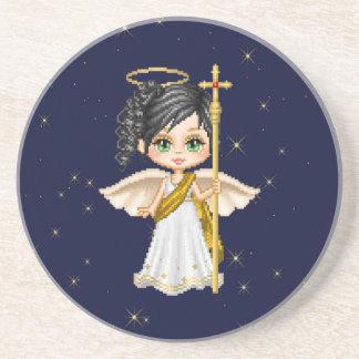 White Angel Pixel Art Coaster
