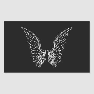 White Angel Wings on Black Background Rectangular Sticker