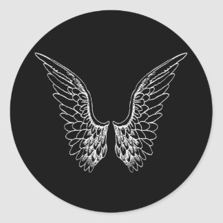 White Angel Wings on Black Background Round Sticker