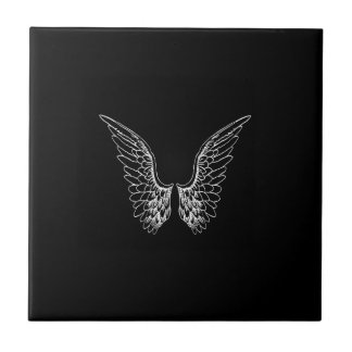 White Angel Wings on Black Background Small Square Tile